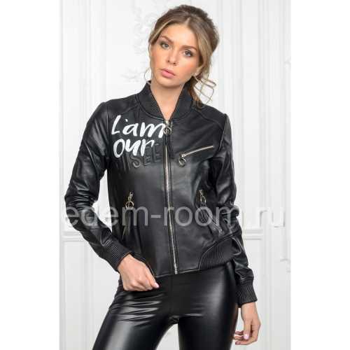 Стильная женская черная кожаная куртка